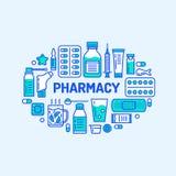 Läkarundersökning apotekbanerillustration Apotekvektorlinje symbolsminnestavla, kapslar, preventivpillerar, antibiotikummar, vita vektor illustrationer