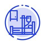 Läkarundersökning droppande, medicin, blå prickig linje linje symbol för sjukhus stock illustrationer