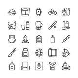 Läkarundersökning-, hälso- och konditionlinje vektorsymboler 18 stock illustrationer