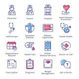 Läkarundersökning- & hälsovårdsymbolsuppsättning 1 - översiktsserie Royaltyfri Bild