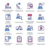 Läkarundersökning- & hälsovårdsymbolsuppsättning 2 - översiktsserie Royaltyfri Foto
