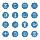 Läkarundersökning- & hälsovårdsymbolsuppsättning Plan design Arkivbild