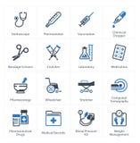 Läkarundersökning- & hälsovårdsymbolsuppsättning 1 - utrustning & tillförsel Royaltyfri Bild