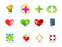 Läkarundersökning- och hälsosymbolsset Royaltyfri Fotografi