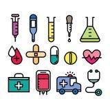 Läkarundersökning- och hälsosymbolsset Fotografering för Bildbyråer