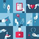 Läkarundersökning- och hälsovårddesignbeståndsdelar. Vektorillustration Royaltyfri Fotografi