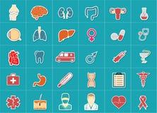 Läkarundersökning- och hälsovårdsymbolsuppsättning Royaltyfri Bild