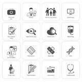 Läkarundersökning- och hälsovårdsymbolsuppsättning Plan design arkivfoton