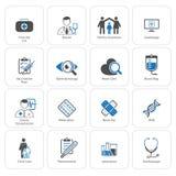 Läkarundersökning- och hälsovårdsymbolsuppsättning Plan design royaltyfri bild