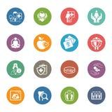 Läkarundersökning- och hälsovårdsymbolsuppsättning Plan design Arkivbilder