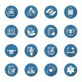 Läkarundersökning- och hälsovårdsymbolsuppsättning Plan design vektor illustrationer