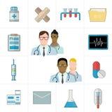 Läkarundersökning- och läkemedel- eller pharmasymboler Termometer, minnestavlor och preventivpillerar, drog, kardiogram, injektio royaltyfri illustrationer