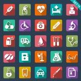 Läkarundersökning- och sjukvårdsymboler vektor illustrationer