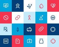 Läkarundersökning- och sjukvårdsymboler. Lägenhet stock illustrationer