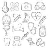 Läkarundersökning- och sjukvårdsymboler skissar Royaltyfri Fotografi