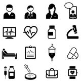 Läkarundersökning-, sjukvård- och hälsosymbolsuppsättning Fotografering för Bildbyråer