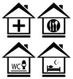 Läkarundersökning, wc, mat och säng på hem- symbol Arkivbild