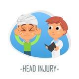 Läkarundersökningbegrepp för Head skada också vektor för coreldrawillustration Arkivbilder
