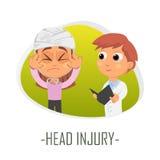 Läkarundersökningbegrepp för Head skada också vektor för coreldrawillustration Fotografering för Bildbyråer