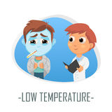 Läkarundersökningbegrepp för låg temperatur också vektor för coreldrawillustration Royaltyfri Foto