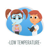 Läkarundersökningbegrepp för låg temperatur också vektor för coreldrawillustration Royaltyfri Bild