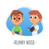Läkarundersökningbegrepp för rinnande näsa också vektor för coreldrawillustration Royaltyfri Bild