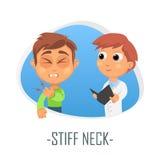 Läkarundersökningbegrepp för styv hals också vektor för coreldrawillustration Royaltyfri Foto