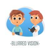Läkarundersökningbegrepp för suddig vision också vektor för coreldrawillustration Arkivbild