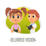 Läkarundersökningbegrepp för suddig vision också vektor för coreldrawillustration Fotografering för Bildbyråer