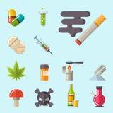 Läkarundersökningen förgiftar böjelse för kemikalie för tecken för ambulans för rengöringsduk för läkarbehandling för klinik för  royaltyfri illustrationer