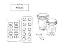 Läkarundersökningflaskor med preventivpillerar, kapslar skissar vektorn stock illustrationer
