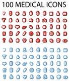 läkarundersökningset för 100 symboler Arkivbild