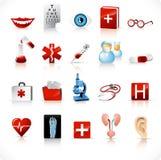 läkarundersökningset för 2 symboler stock illustrationer