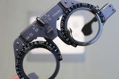 Läkarundersökningstålexponeringsglas för visiondiagnostik arkivfoton