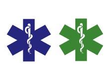 läkarundersökningsymbol för blå green Arkivfoto