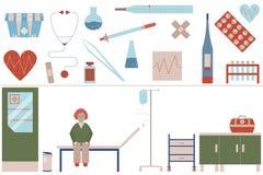 Läkarundersökninguppsättning i plan design Medicin bearbetar utrustning Symboler för din produkt eller illustration Royaltyfri Foto