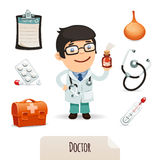 Läkarundersökninguppsättning med en manlig doktor stock illustrationer