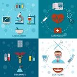 Läkarundersökninguppsättninglägenhet Fotografering för Bildbyråer