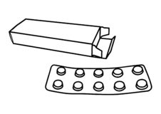 L?kemedelpillermedicin p? vit bachground stock illustrationer