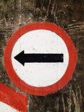 Lämnad vänd för gatatecken Arkivbild