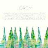 Lämnar blommar abstrakt vattenfärgbakgrund för vektorn med oleander och Arkivbild