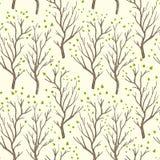 Lämnar bruna träd för björk eller för asp i vår med liten gräsplan den pastell färgade sömlösa modellen, vektor stock illustrationer