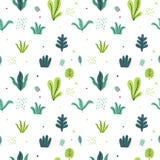 Lämnar den plana uppsättningen Tropiska växter för sömlös modell som isoleras på vit bakgrund Enkelt grönt blom- för natur Minsta royaltyfri illustrationer