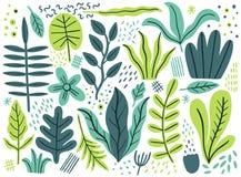 Lämnar den plana uppsättningen Tropiska växter som isoleras på vit bakgrund Enkelt grönt blom- för natur Minsta stilfantasi stock illustrationer