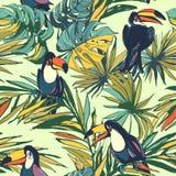 Lämnar den sömlösa modellen för tropisk blom- sommar med Palm Beach a vektor illustrationer