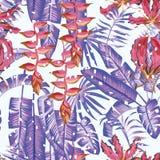 Lämnar tropiska sömlösa sammansättningsblommor för vinter vit backgr vektor illustrationer