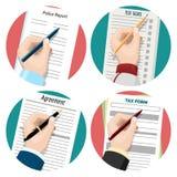 Lämnat-hander undertecknande dokument för handstil royaltyfri illustrationer