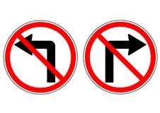 Lämnat och högert trafiktecken för ingen vänd för handbok på vägen Arkivfoto