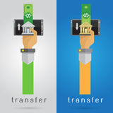 Lämplig överföring för pengar för uppsättning för vektorarm- och handmobiltelefon kvickt Arkivfoto