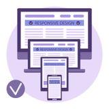 Lämplig designmall Svars- websitedesign för dator Arkivfoto